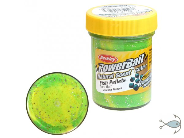 Паста форелевая Berkley Power Bait Fish Pellets Fluo Green Yellow